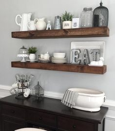 Diy kitchen shelves kitchen wall shelf ideas dining room floating shelves by kitchen wall shelves build . Dining Room Floating Shelves, Floating Shelves Diy, Dining Room Walls, Wooden Shelves, Building Floating Shelves, Ikea Dining Room, Decorative Shelves, Floating Wall, Rustic Shelves
