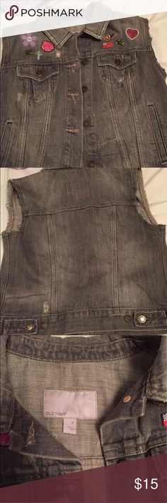 OLD NAVY iron on patch vest! Size M, no flaws Old Navy Jackets & Coats Vests