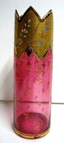 Antique Moser Cranberry Red Czech Glass Gold Gilt Enamel Floral Vase Crown Rim | eBay