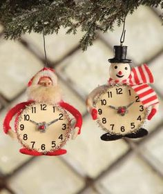Vintage Christmas Time Santa and Snowman Clock / Watch Ornaments. TheHolidayBarn.com