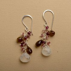 long dangle earrings white moonstone pink tourmaline by izuly, $79.00