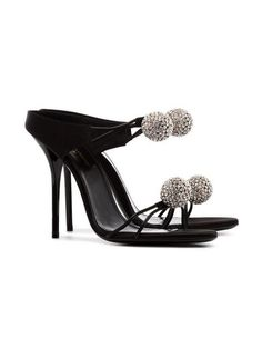 0b803543744 Saint Laurent Pierre 110 Satin And Leather Crystal Ball Shoes - Farfetch