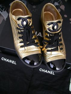 Chanel Sneakers in Gold and Black Patent Leather d9d690949e1c6