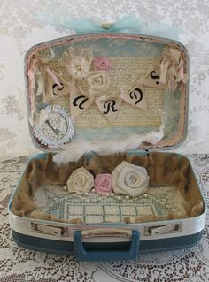 Vintage Suitcase Wedding Card Box Flower Girl Basket Ring Bearer Pillow Set Shabby Chic Wedding Country Chic Wedding keepsake box. $155.00, via Etsy.