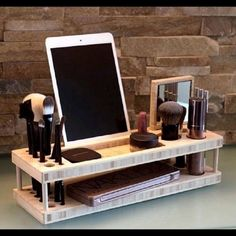 iMakeup Organizer, Wood iPad Station Handmade item Beauty Station is your daily makeup organizer and display tray. Enjoy a display dock for your phone and tablet. Created from beautiful, eco-friendly bamboo. Altawie Makeup Brushes & Tools