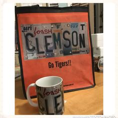 Mug and matching Clemson bag License Plate Art, Clemson, Craft Supplies, How To Find Out, Mugs, Tableware, Gifts, Handmade, Etsy