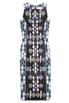 #Peter #Pilotto #Cocktail, #Dress mit #Print #, #Schwarz für #Damen - Ein Kleid wie ein Drink: das mit grafischen Prints bedruckte Dress von Peter Pilotto zaubert Holiday > Feeling in unsere Garderobe  >  Schwarzes Muster mit grafischen Prints in Multicolor, eckiger Ausschnitt, Reißverschluss am Rücken  >  Schmal geschnitten  >  Stylen wir mit eleganten Stilettos und einer schnörkellosen Clutch
