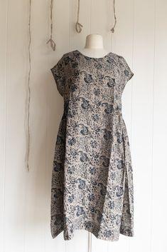 Laxmi Linen Printed Dress Indigo