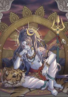 Unusual depiction of Mahadeva Shiva Mahakal Shiva, Rudra Shiva, Shiva Art, Durga, Shri Ganesh, Hanuman, Krishna, Indian Gods, Indian Art