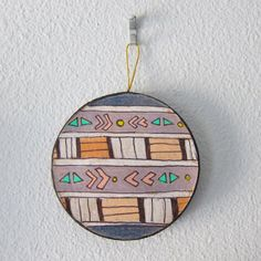 """Southwestern Circle II Ornament"" by #katnawlins on #etsy, $7.50 - #ornament #holidays #art #hand-drawn #southwestern #circle #funky #triangles #geometric #stripes #colorful"