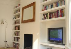 TV Cabinet and 18 Floating Alcove Shelves - Carpentry & Joinery job in Stoke Newington, North London - MyBuilder Alcove Bookshelves, Alcove Desk, Alcove Storage, Alcove Shelving, Alcove Cupboards, Shelving Ideas, Bookcase, Shelving Units, Living Room Shelves