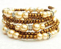Gorgeous Honey Gold Bracelet Memory Wire Bracelet Cream Tan Pearls Brown by ReneeBrownsDesigns, $21.00