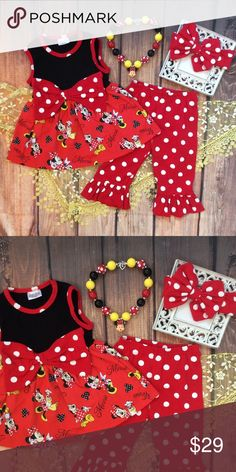 Boutique Girls Minnie Mouse 4pc Set Super cute and ready to ship! This 4pc Minnie Mouse outfit is perfect for a Disney vacation or for a Disney fan!!! Includes a dress style no sleeve top with Minnie print and big polkadot bow on front. Capri Ruffle style pants. Mickey Mouse chunky bead necklace and matching red polkadot headband. Matching Sets