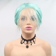 Cheap Synthetic None-Lace Wigs, Buy Directly from China Suppliers:Sylvia Mint Super Short Frontal Wigs Synthetic Lace Front Wigs For Women Wigs Heat Resistant Fiber Free Parting Cosplay Wigs Cheap Lace Front Wigs, Cheap Wigs, Synthetic Lace Front Wigs, Synthetic Wigs, Bob Styles, Short Hair Styles, How To Wear A Wig, Wigs For Sale, Wigs Online