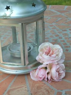 Lantern with roses.
