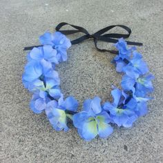 Blue Floral Headband/ Flower Crown. Coachella or by DevineBlooms, $13.00