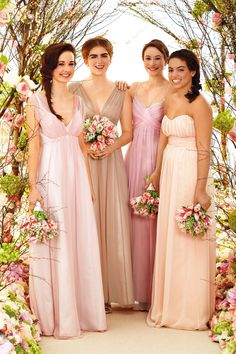 Maids To Measure champagne/pink bridesmaids dresses.