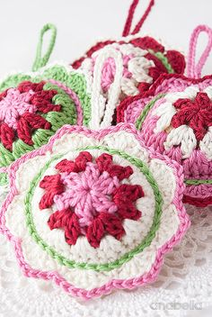 Crochet ornaments, pattern. Cute in the car. Add essential oils for car air freshener.