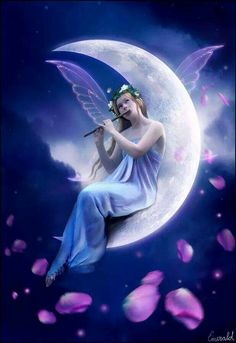 Moonlight Melody - Digital art by Emerald de Leeuw ! Angel Images, Angel Pictures, Moon Pictures, Fantasy World, Fantasy Art, Fantasy Fairies, Enchanted Fairies, Fantasy Images, Moon Fairy