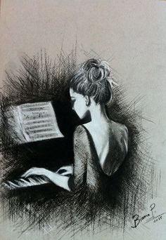 "Bianca Paraschiv~ Pencil Drawing Artwork ""Playing piano"""