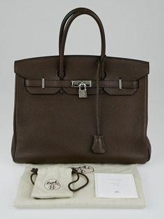 6caaabbf17 Hermes 35cm Chocolate Clemence Leather Palladium Plated Birkin Bag