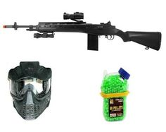 *M14 RIS Spring Tactical Sniper Rifle w/ Flashlight & Red Dot Scope Airsoft Gun Good Quality Rifle + TSD Full Face Mask w/ Visor + 1000 Count Seamless Holster BB's by M14 Sniper Rifle Package Deal. $89.99. Spring Sniper Rifle * Laser Sight Scope * Flashlight * Magazine * Speed loader * Philips screwdriver * Cleaning rod * Sample pack of BBs * Manual TSD full face airsoft mask is a black full faced airsoft mask with a removable visor for your convenience. 1000 Count... Airsoft Sniper, Airsoft Mask, Airsoft Guns, Tactical Knives, Tactical Gear, Red Dot Scope, Full Face Mask, Red Dots, Flashlight
