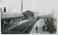 Milnrow Station, showing sidings in the background, where Sonoco is now.