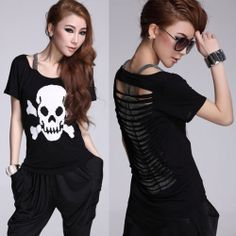 Womens Sexy Stripe Hollow False Two Piece Rock Punk Skull T Shirt Top Blouse | eBay