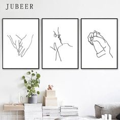 """Love Art Line Painting Set of 3 Prints Kissing Art Holding Hands Romantic Gifts Simple Posters and Prints Nordic Decoration Home"" Minimalist Painting, Minimalist Art, Canvas Art Prints, Wall Art Prints, Art Decor, Decoration, Home Decor, Simple Poster, Love Wall Art"