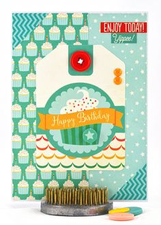 This sweet, cupcake birthday card is one of a kind and is all ready for a cupcake theme party. #thecardkiosk
