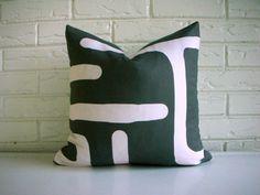 Tribal Modern Pillow Cover  Charcoal Cream by habitationBoheme, $42.00