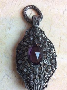 Gothic pendant amethyst and silver by BonTonChic on Etsy