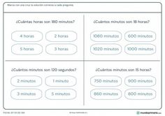 Ficha de minutos y horas para primaria