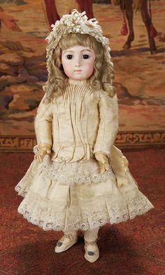 Curtain Call- The Collection of Billie Nelson: 211 Beautiful French Bisque Bebe Triste by Emile Jumeau in Rare Size 9 Victorian Dolls, Antique Dolls, Vintage Dolls, Pretty Dolls, Beautiful Dolls, Girl Dolls, Barbie Dolls, Teddy Bear Toys, Teddy Bears