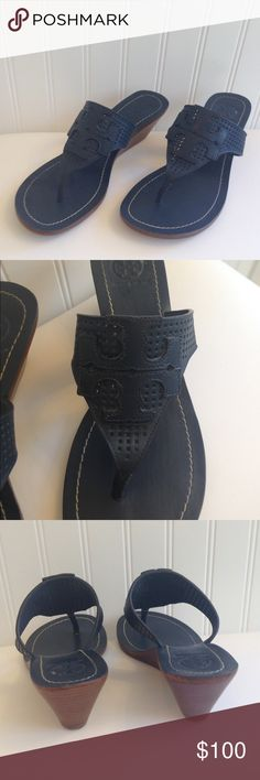 Tory Burch Blue Logo Wedge Thong Sandal Size 8. Tory Burch Blue Logo Wedge Thong Sandal Size 8. Worn but in GREAT condition. Very Slight signs on ware on heel edge (see pic). No box or dust bag included. Tory Burch Shoes Sandals