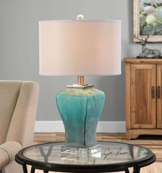"""Add a little """"ocean"""" ambience to a room with this gorgeous frosted ombre turquoise glass lamp.  Elegant and beach house perfection!"""