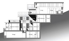 example - split level house built on steep slope. click on image for further details / floorplans