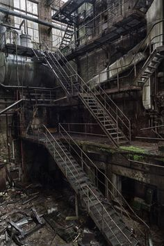 Stairs in an abandoned paper factory -- Um,,, I think this is from Episode Now I need to play again to check. Abandoned Buildings, Abandoned Mansions, Old Buildings, Abandoned Places, Magic Places, Paper Factory, Abandoned Factory, Haunted Places, Architecture