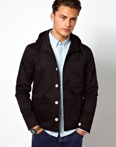 Jacket by ASOS \n\n-\nMade from a poly cotton blend\n\n-\nHooded neck\n\n-\nButton front fastening\n\n-\nPatch pockets to chest and hips\n\n-\nRegular fit\n\n\n\nABOUT ASOS BRAND\n\nDesigned in-house in our London studio by our dedicated menswear team, ASOS offer a range of men's clothing designed and created exclusively for ASOS.