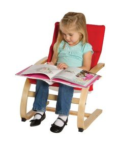 A place to read, relax, or just hang out, the Guidecraft Kiddie Rocker– Red does it all with style. Inspired by Scandinavian designs,. Teen Furniture, Dramatic Play, Red Fabric, Design Consultant, Chair Cushions, Fabric Covered, Rocking Chair, Scandinavian Design, 6 Years