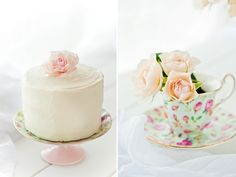 Tea party. Love the flowers in the teacups and the cake looks delicious.