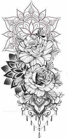 Floral Tattoo Design, Mandala Tattoo Design, Tattoo Design Drawings, Flower Tattoo Designs, Girly Tattoos, Pretty Tattoos, Cute Tattoos, Body Art Tattoos, Female Tattoos