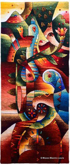 """Family Foundation"" - Handwoven Peruvian Tapestry, Peace Birds, Tapestry Art, Horizontal Wall Hanging, Alpaca, Tapestries by Maximo Laura, Handmade, Peru Textiles Weaving Textiles, Tapestry Weaving, Wall Tapestry, Peace Bird, Cubism Art, Textile Fiber Art, Bird Art, Artwork, Hand Weaving"