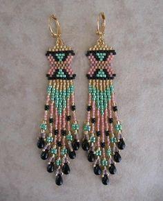 Seed Bead Beadwoven Earrings  Peach/Green by pattimacs on Etsy, $22.00