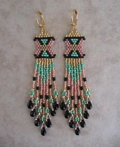 Seed Bead Beadwoven Earrings  Peach/Green by pattimacs on Etsy, $22.00