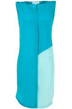 Capri green and Seychelles colour blocked tunic dress  by SHIVAN AND NARRESH. Shop now at perniaspopupshop.com