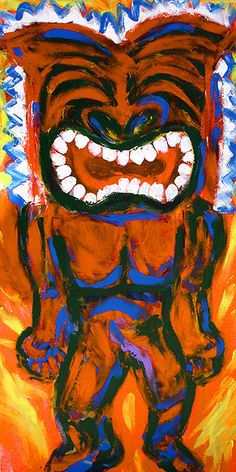 "Something Tiki This Way Comes (Ku), Original Finger Painting, acrylic on canvas, 10"" x 20"" COLLECTED"