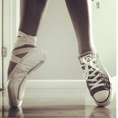 ballet shoes and converse Dance Like No One Is Watching, Just Dance, Pointe Shoes, Ballet Shoes, Tutu, Lila Baby, Dancer Photography, Dance Dreams, Dance Quotes