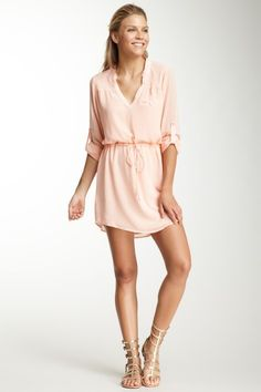 Drawstring Waist Tunic Dress
