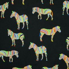 Zebras On Black Cotton Fabric